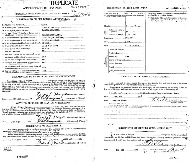 Enos's Attestation papers