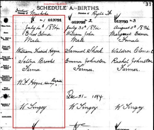 Enos's Ontario Birth Registration